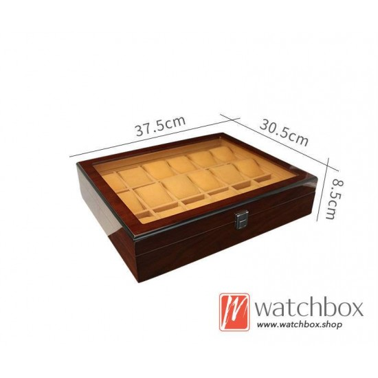 18 slots pieces watch case wooden organizer storage display box