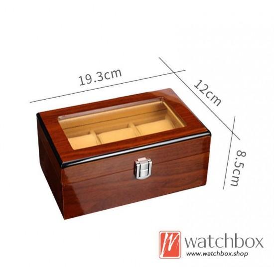 3 pieces watch slots case wooden storage organizer display gift box