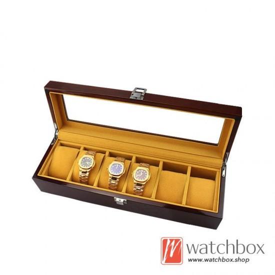5/6 pieces slots watch case wooden storage organizer display gift box