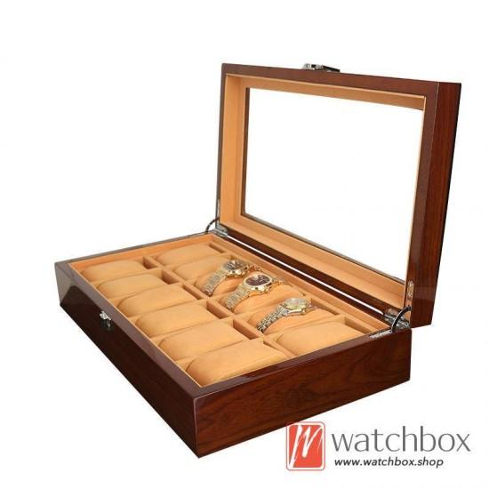 12 pieces slots watch case wooden storage organizer display gift box