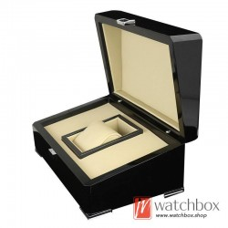 high quality single luxury watch wooden paint PU leather pillow case storage gift box