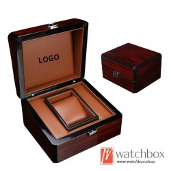 high quality single luxury watch square wooden PU leather pillow case storage gift box