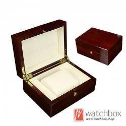 high quality watch MDF wooden single PU leather pillow case storage gift box push lock