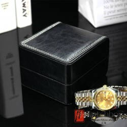 black small PU leather watch jewelry case storage gift box