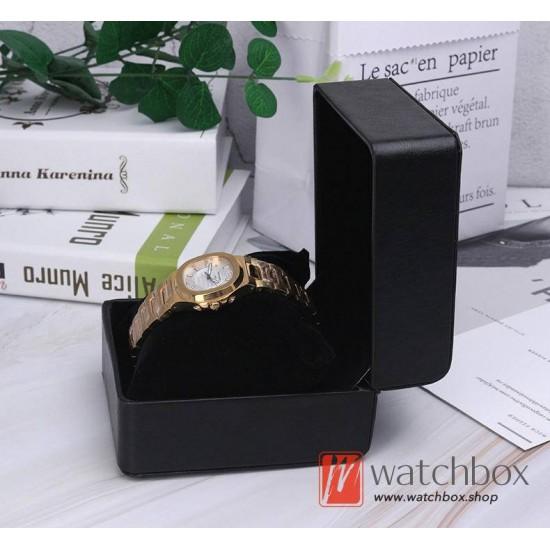 black small PU leather watch jewelry case storage gift box