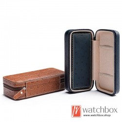 top grade portable ostrich pattern leather watch storage travel case box