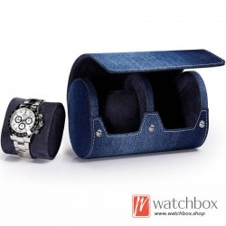 1/2/3 slots top grade denim leather watch case storage travel gift box