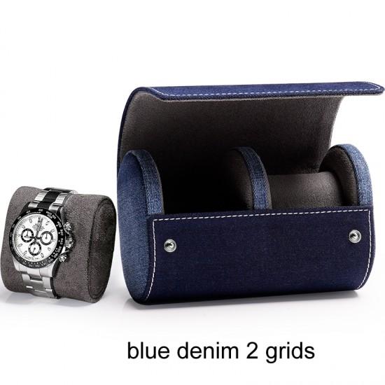 1/2/3 slots top grade denim leather watch case storage travel gift box