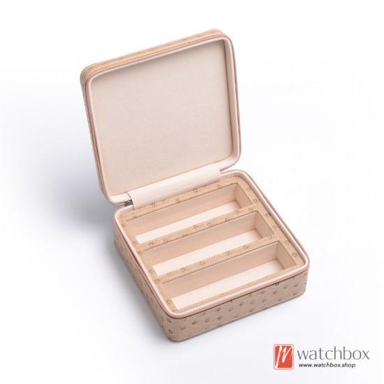 1/2 slots pieces top grade ostrich pattern soft leather sunglass case storage travel box