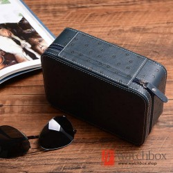 1/2 slots pieces top grade ostrich pattern soft leather sunglass case storage travel box