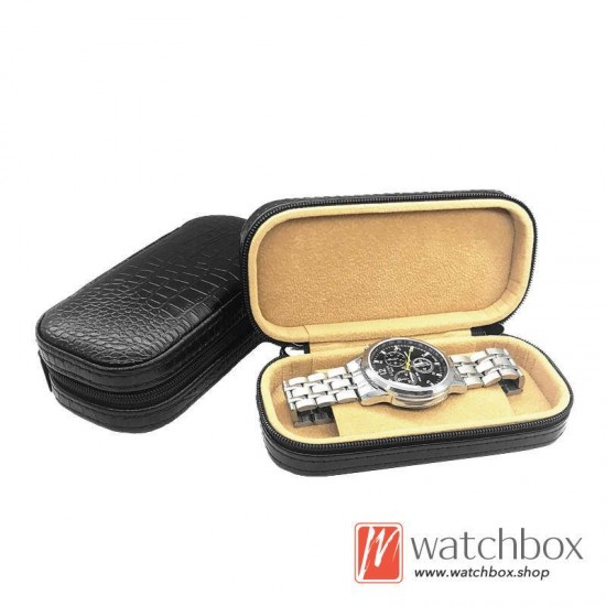 high quality PU leather single watch case storage travel zipper gift box
