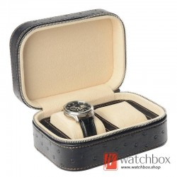 2 slots pieces watch ostrich texture leather case storage travel gift zipper box