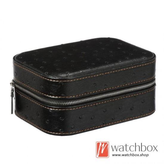 2 slots pieces watch ostrich texture leather case storage travel gift zipper box