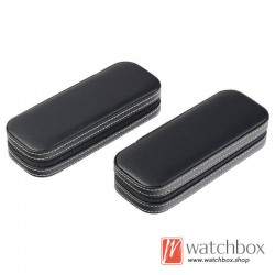 high quality single watch black leather case storage travel zipper gift box