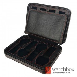 2/4/8 slots pieces black PU leather watch case storage zipper travel bag box