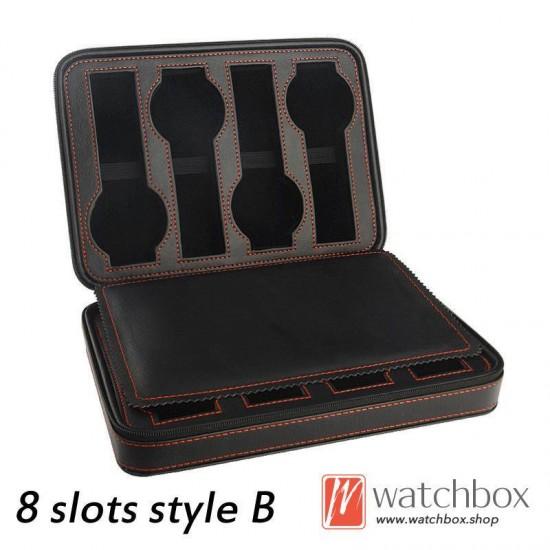 2/4/8 slots pieces black PU leather watch case storage zipper travel bag box