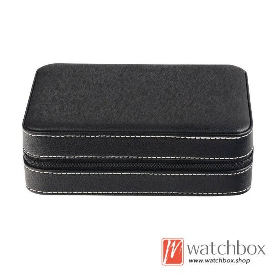 4 slots pieces PU leather watch case storage travel zipper bag box