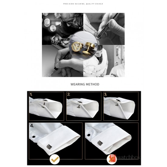 High-end Mechanical Movement Carved Rotatable Tourbillon Men's French Shirt Cufflinks Birthday Engagement Gift Box