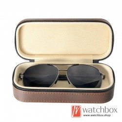 high quality PU leather sunglass case storage travel zipper bag box
