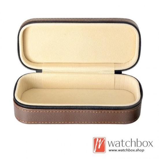 high quality PU leather sunglass case storage travel zipper bag box