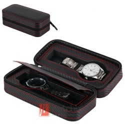 2 pieces watch Portable leather storage case travel zipper box