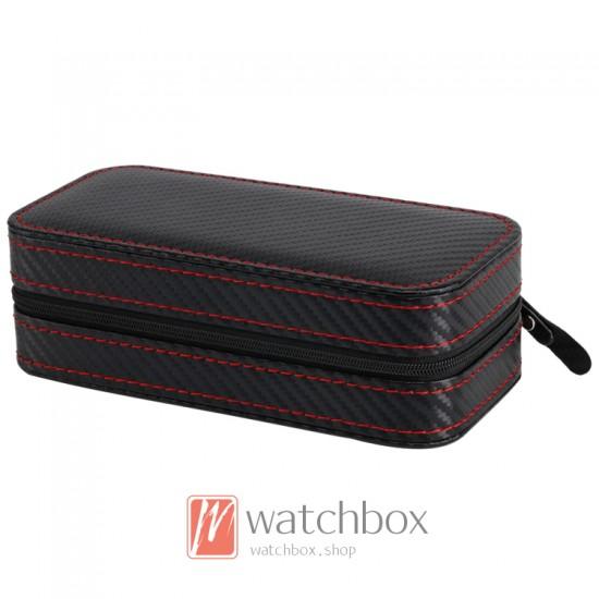 2 pieces watch Portable leather storage case travel zipper box