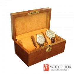 3 slots high quality wood watch case display storage gift box with lock