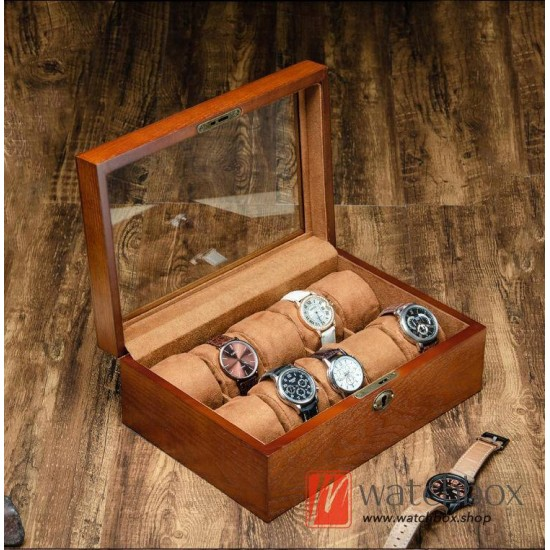 10 slots Ash wood watch jewelry case cuff stotrage display glass gift box with lock