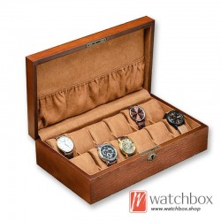 12 slots solid wood watch jewelry case storage organizer with lock gift display box