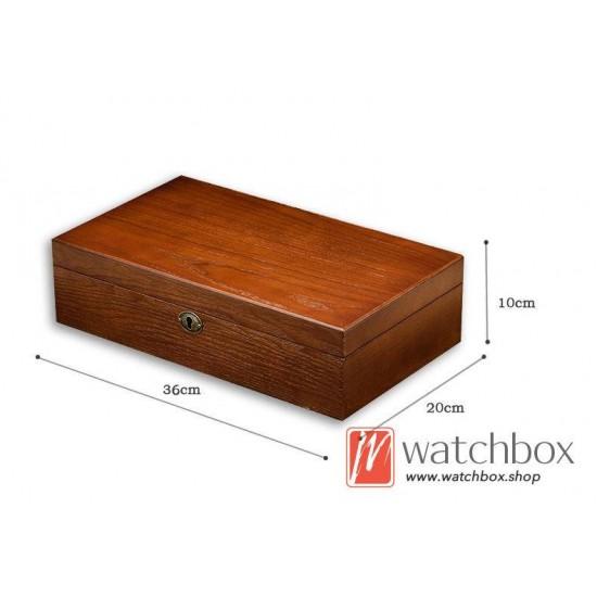 12 slots solid wood watch jewelry case storage organizer with lock gift display box