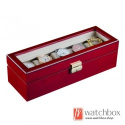 5 Slots Red Paint  Wood  Watch Case Storage Organizer Display Glass Box With Lock