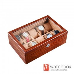 10 slots American Ash solid wood watch case storage organizer display gift collection box with lock