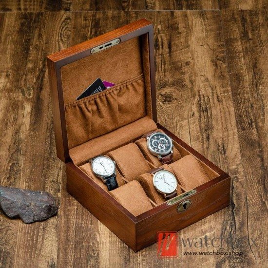 6 slots Ash solid wood watch jewelry case storage organizer display lock gift box