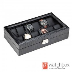 12 slots black carbon fiber leather watch case storage organizer display box