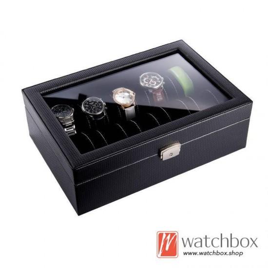 10 slots watch black carbon fiber leather case organizer storage display box