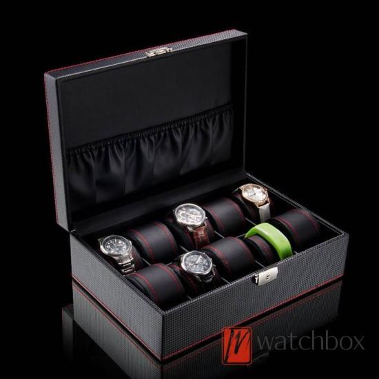 10 slots black carbon fiber leather watch case jewelry storage organizer display lock box