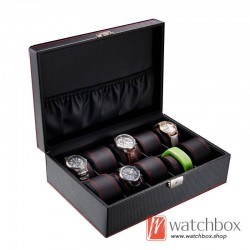 10 slots black carbon fiber leather watch case jewelry storage organizer display lock box