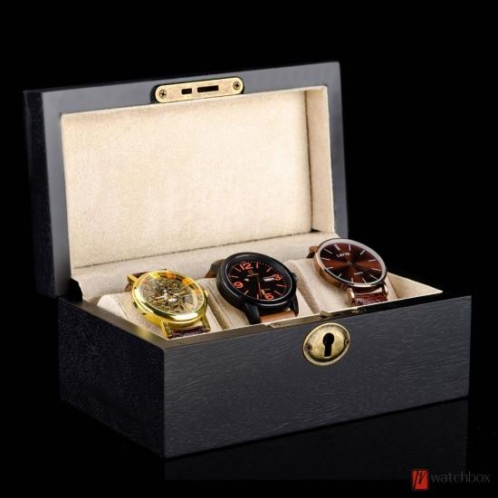 3 slots black solid wood watch case storage organizer gift lock box