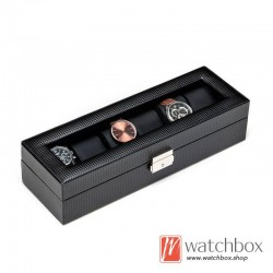 6 slots watch black carbon fiber leather watch case storage organizer box