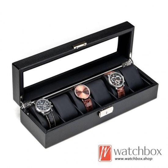 6 Slots Watch Black Carbon Fiber Leather Watch Case Storage Organizer Box