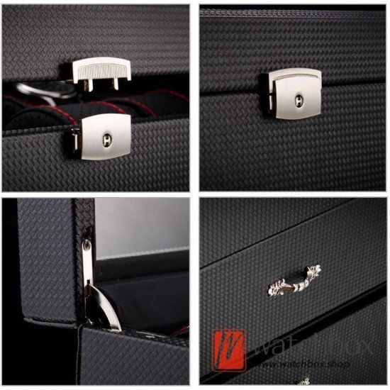 20 slots double layer drawer black carbon fiber leather watch jewelry case storage organizer box