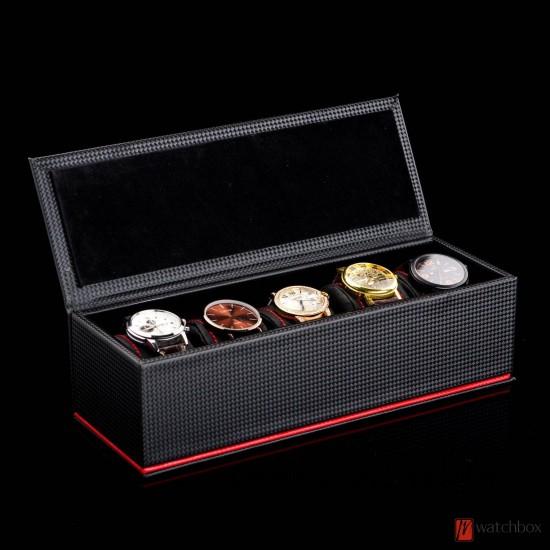 5 slots watch case black carbon fiber leather storage organizer box