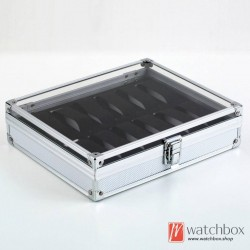 12 slots Aluminum alloy watch case storage organizer display lock box