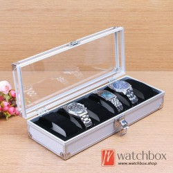 6 slots watch case storage organizer display lock Aluminum alloy box