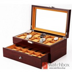 20 slots double layer drawer wood watch storage case organizer display box