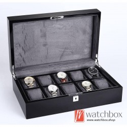 10 slots grids black wood watch storage case organizer display lock box