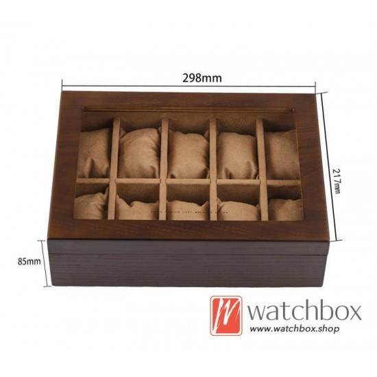 10 pieces slots Ash wood watch case jewelry big pillow storage organizer display box