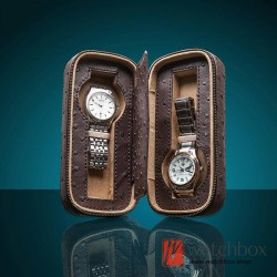 2 slots pieces PU ostrich pattern leather zipper watch case storage travel box