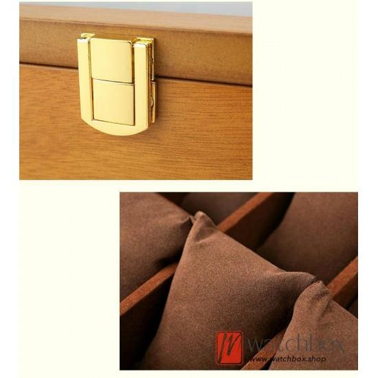 vintage 10 slots pieces wood watch case big pilow jewelry storage organizer display box