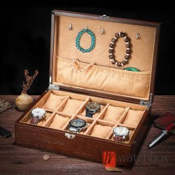 10 slots pieces vintage wood watch jewelry case big pilow storage organizer display box